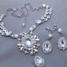 Teardrop Vintage Bridal Jewelry Pearl Necklace Earrings Wedding Jewellery Set