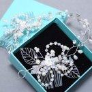 Wedding Rhinestone Headpiece Crystal Pearl Rose Flower Bridal Crown Leaf Tiara