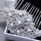 Elegant Wedding Bridal Crystal Rhinestones Freshwater Pearl Hair Comb Headpiece