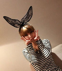 Party Black Lace Bunny Rabbit Ears Headband Hair Accessory Alice Band