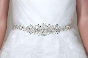 Bridal Pearl Belt Rhinestone Applique Beaded Sash Wedding Belt Accessories -CA