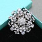 Sparkle Winter Snowflake Snow Rhinestone Crystal Wedding Party Bridal Brooch Pin