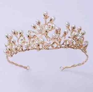 Bridal Wedding Pearls Rhinestone Crystal Gold Tone Woodland Tiara Crown