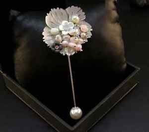 Wedding Groom Boutonniere Mother Of Pearl Brooch Coat Sweater Flower Pin