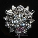 Flower Bouquet Leaf Wedding Crystal Brooch Pin Bridal Rhinestone Jewelry
