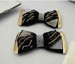 A Pair Vintage Style Dark Gold Beads Fashion Rhinestone Black Shoe Clips