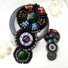 Vintage Beaded Beads Black Sandals Shoe Applique Pair