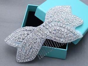 Bow Rhinestone Applique Crystal Bridal Hair Comb Wedding Headpiece