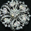 Wedding Rhinestone Round Crystal Flower Cake Decoration Brooch Pin Jewelry