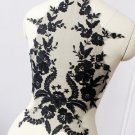 Wedding Bridal Dress Black Flower Embroidered Lingerie Lace Fabric 45 x 33cm