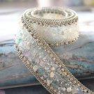 White Stone Beaded Crystal Wedding Sash Silver Chain Trim Iron Sew Applique