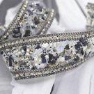 Black Stone Beaded Crystal Wedding Sash Silver Chain Trim Iron Sew Applique