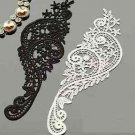 2 Pairs Bridal Wedding Black/Off White Flower Embroidered Lace Applique Pair DIY
