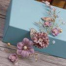 Wedding Bridal Vintage Gold Leaf Purple Flower Pearl Tiara Headpiece Hair Piece