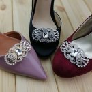 A Pair Vintage Rhinestone Crystal Bow Wedding Bridal Shoe Clips Decoration