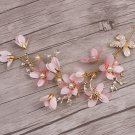 Wedding Bridal Vintage Gold Leaf Pink Flower Pearl Tiara Headpiece Hair Piece