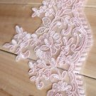 Bridal Wedding Veil Dress Pink Flower Embroidered Lace Trim 1 Yard