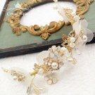 Wedding Bridal Vintage Flower Leaf Crystal Gold Tiara Pearl Headpiece Hair Piece