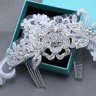Vintage Lace Bridal Flower Rose Rhinestone Comb Wedding Hair Crystal Headpiece