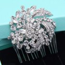 Leaf Flower Bridal Rhinestone Comb Round Wedding Hair Head Crystal Headpiece
