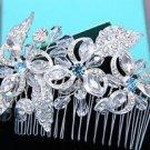 Wedding Flower Blue Rhinestone Crystal Bridal Hair Comb Headpiece Accessoires