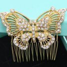 Wedding Bridal Crystal Rhinestone Gold Butterfly Bride Hair Comb Accessories