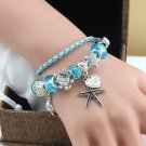 Silver Starfish Turtle Ocean Beach Beads Crystal Blue Charms Leather Bracelet