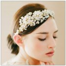 Vintage Flower Gold Tone Pearl Rhinestone Crystal Headband Tiara Hair Jewelry
