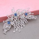 Blue Flower Leaf Rhinestone Crystal Bridal Hair Comb Wedding Headpiece