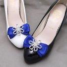 A Pair Flower Rhinestone Crystal Ribbon Bow Wedding Bridal Shoe Clips Decoration