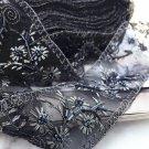 Black Beaded Bridal Wedding Sash Embroidery Lace Fabric Sash Belt Trim 100cm