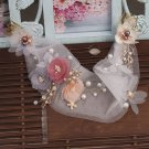 Bridal Leaf Peach Pink Flower Pearl Veil Net Hair Comb Wedding Headpiece