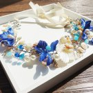 Bridal Blue Flower Rhinestone Shells Pearl Tiara Wedding Tiara Hair Accessories