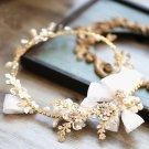 Wedding Bridal Vintage Leaf Crystal Gold Tiara Pearl Bow Headpiece Hair Piece