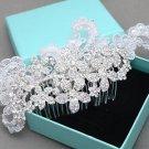 Bridal Flower Rose Rhinestone Lace Wedding Hair Comb Crystal Headpiece Accessory