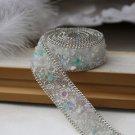 Turquoise Stone Beaded Crystal Wedding Sash Trim Iron Sew Ivory Applique 50cm