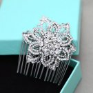 Rose Flower Bridal Rhinestone Comb Round Wedding Hair Head Crystal Headpiece