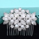 Vintage Ivory White Pearl Bridal Rhinestone Comb Wedding Hair Crystal Headpiece