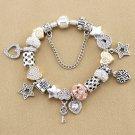 Rhinestone Crystal Snowflake Locket Silver Beads Charm Bracelet Birthday Gift