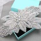 Crystal Rhinestone Leaf Applique Wedding Bridal Sash Belt Or Flower Bouquet Wrap