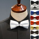 Mens Color Faux Leather Pre Tired Self Bow Tie Adjustable Moustache Bowtie