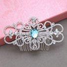 Wedding Turquoise Rhinestone Crystal Hair Comb Headpiece Accessoires