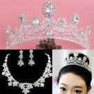 Rhinestone Wedding Bridal Crown Clip on Earrings Necklace Jewelry Set