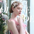 Wedding Bridal Pink Flower Gold Dragonfly Feather Headpiece Pearl Hair Piece