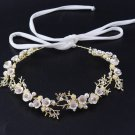 Bridal Leaf Gold Flower Pearl Hair Tiara Accessories Wedding Headpiece Jewelry