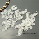 4 Sets Off White Bridal Wedding Rose Flower Floral Leaf Lace Applique