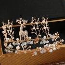 Bridal Gold Crystal Deer Beads Pearl Tiara Wedding Crown Hair Accessories