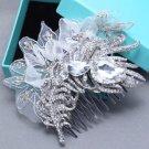 Vintage Lace Bridal Feather Rhinestone Comb Wedding Hair Crystal Headpiece