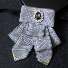 Party Men Wedding Pre Tied Triangle Ribbon Rhinestone Silver Bow Tie Neck Tie