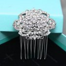 Vintage Flower Bridal Rhinestone Comb Round Wedding Hair Head Crystal Headpiece